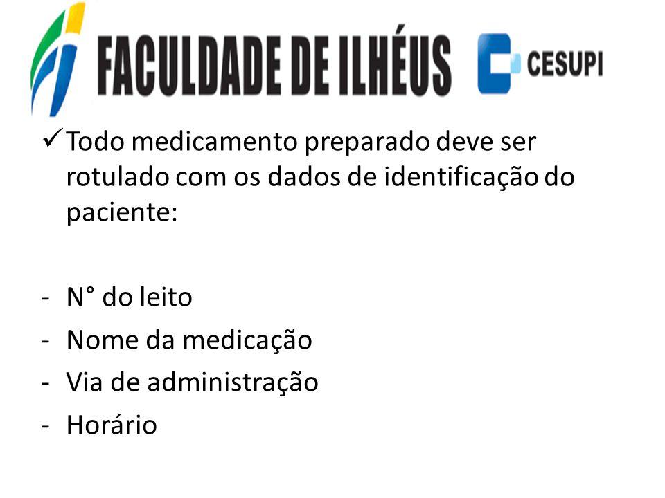 Todo medicamento preparado deve ser rotulado com os dados de identificação do paciente: -N° do leito -Nome da medicação -Via de administração -Horário