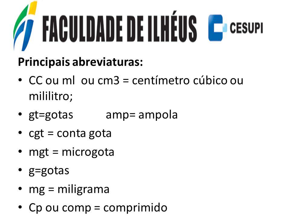 Principais abreviaturas: CC ou ml ou cm3 = centímetro cúbico ou mililitro; gt=gotas amp= ampola cgt = conta gota mgt = microgota g=gotas mg = miligram