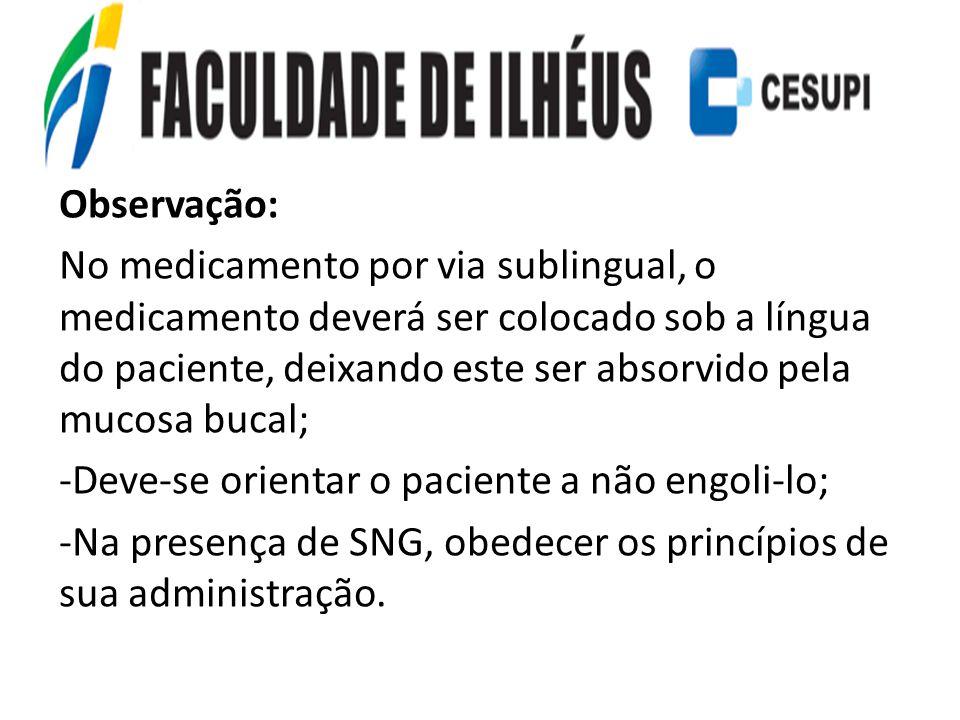 Observação: No medicamento por via sublingual, o medicamento deverá ser colocado sob a língua do paciente, deixando este ser absorvido pela mucosa buc