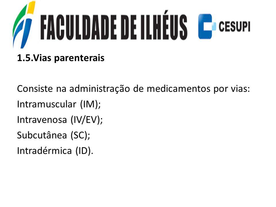 1.5.Vias parenterais Consiste na administração de medicamentos por vias: Intramuscular (IM); Intravenosa (IV/EV); Subcutânea (SC); Intradérmica (ID).
