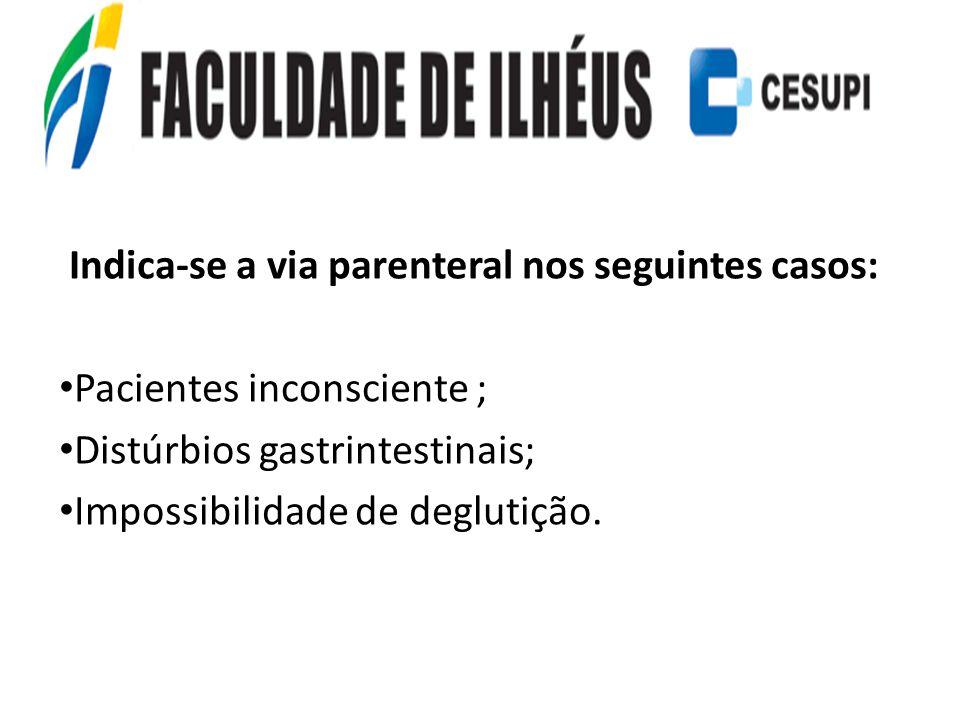 Indica-se a via parenteral nos seguintes casos: Pacientes inconsciente ; Distúrbios gastrintestinais; Impossibilidade de deglutição.