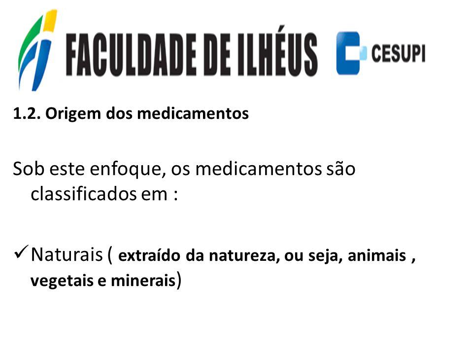 1.2. Origem dos medicamentos Sob este enfoque, os medicamentos são classificados em : Naturais ( extraído da natureza, ou seja, animais, vegetais e mi