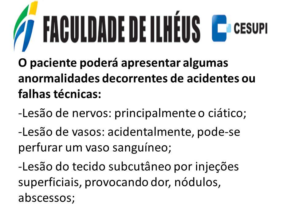 O paciente poderá apresentar algumas anormalidades decorrentes de acidentes ou falhas técnicas: -Lesão de nervos: principalmente o ciático; -Lesão de
