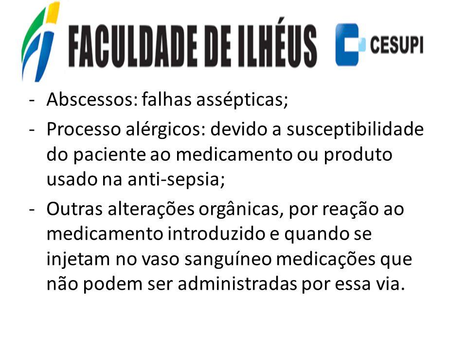 -Abscessos: falhas assépticas; -Processo alérgicos: devido a susceptibilidade do paciente ao medicamento ou produto usado na anti-sepsia; -Outras alte