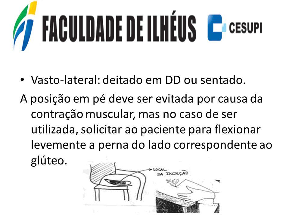 Vasto-lateral: deitado em DD ou sentado. A posição em pé deve ser evitada por causa da contração muscular, mas no caso de ser utilizada, solicitar ao