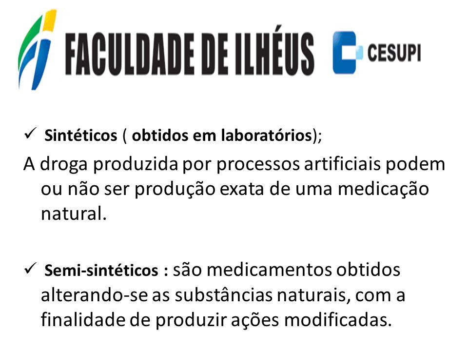 Sintéticos ( obtidos em laboratórios); A droga produzida por processos artificiais podem ou não ser produção exata de uma medicação natural. Semi-sint