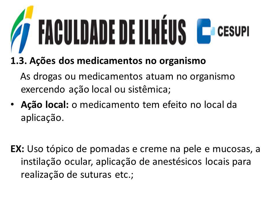 1.3. Ações dos medicamentos no organismo As drogas ou medicamentos atuam no organismo exercendo ação local ou sistêmica; Ação local: o medicamento tem