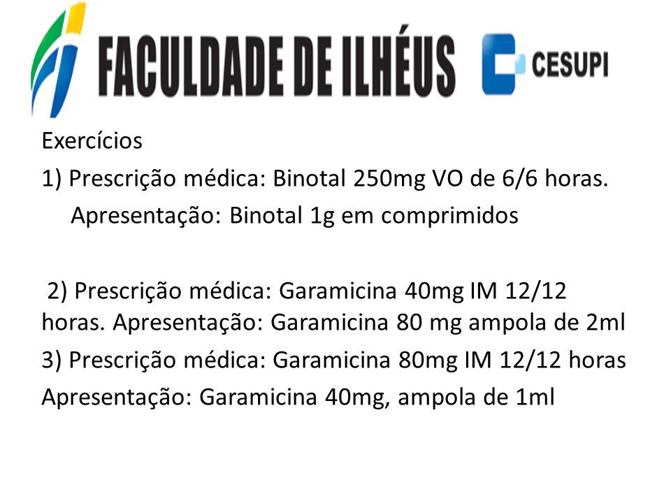 Exercícios 1) Prescrição médica: Binotal 250mg VO de 6/6 horas. Apresentação: Binotal 1g em comprimidos 2) Prescrição médica: Garamicina 40mg IM 12/12