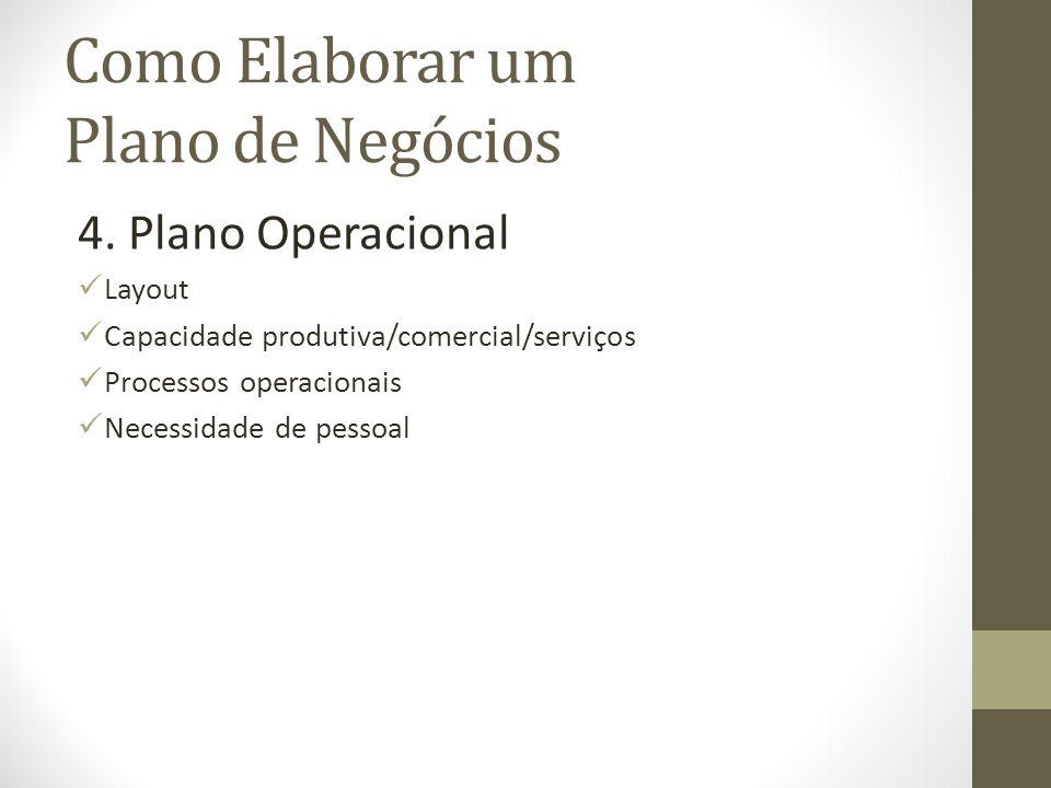 Como Elaborar um Plano de Negócios 4. Plano Operacional Layout Capacidade produtiva/comercial/serviços Processos operacionais Necessidade de pessoal