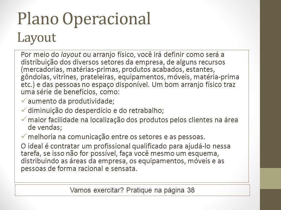Plano Operacional Layout Por meio do layout ou arranjo físico, você irá definir como será a distribuição dos diversos setores da empresa, de alguns re