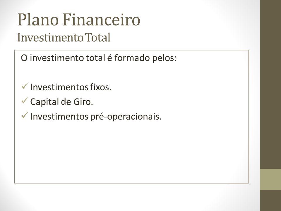 Plano Financeiro Investimento Total O investimento total é formado pelos: Investimentos fixos. Capital de Giro. Investimentos pré-operacionais.