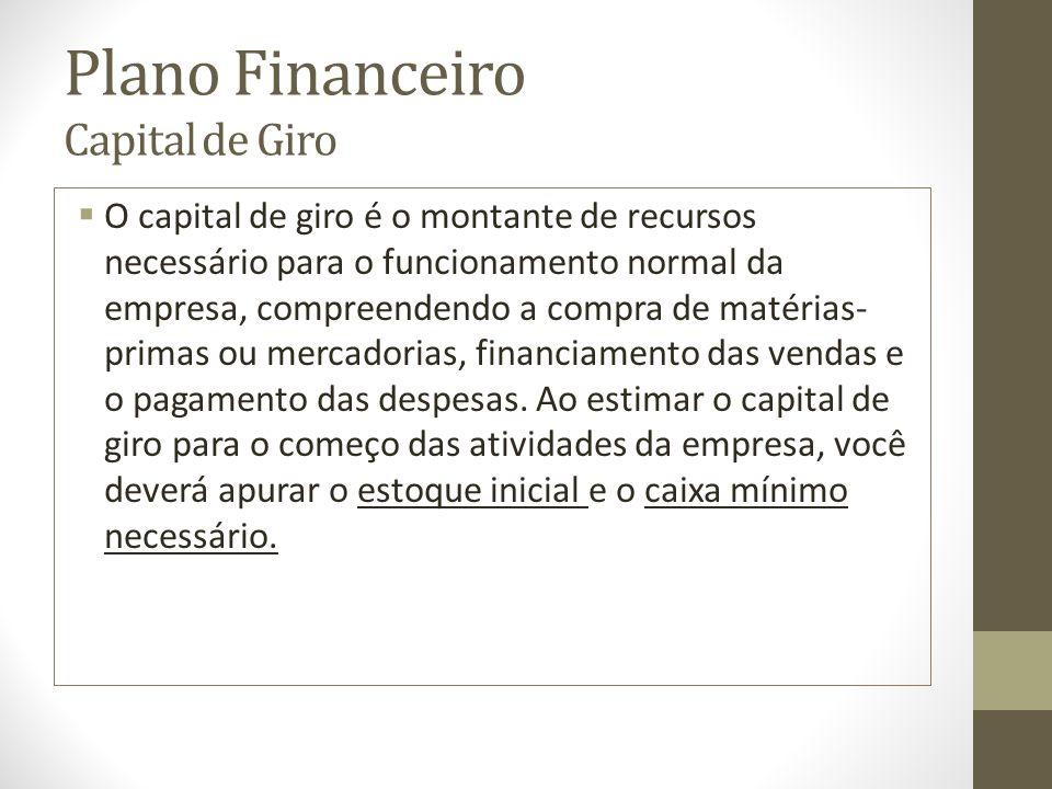 Plano Financeiro Capital de Giro O capital de giro é o montante de recursos necessário para o funcionamento normal da empresa, compreendendo a compra