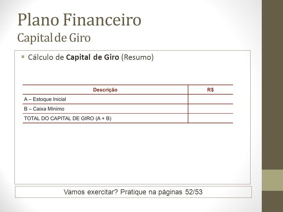 Plano Financeiro Capital de Giro Cálculo de Capital de Giro (Resumo) Vamos exercitar? Pratique na páginas 52/53