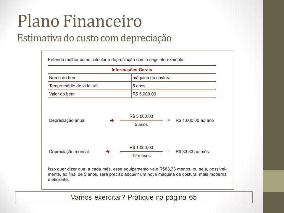 Plano Financeiro Estimativa do custo com depreciação Vamos exercitar? Pratique na página 65