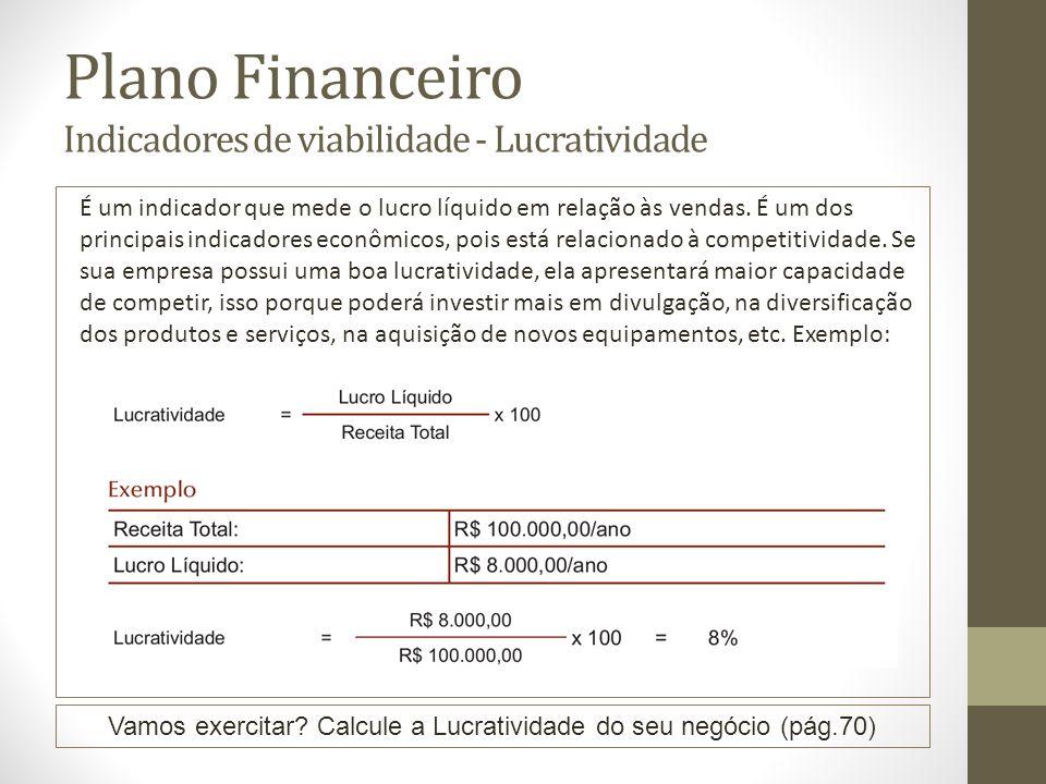 Plano Financeiro Indicadores de viabilidade - Lucratividade É um indicador que mede o lucro líquido em relação às vendas. É um dos principais indicado