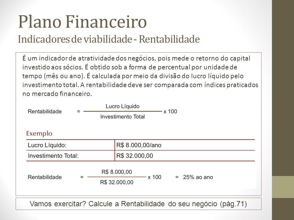 Plano Financeiro Indicadores de viabilidade - Rentabilidade É um indicador de atratividade dos negócios, pois mede o retorno do capital investido aos sócios.