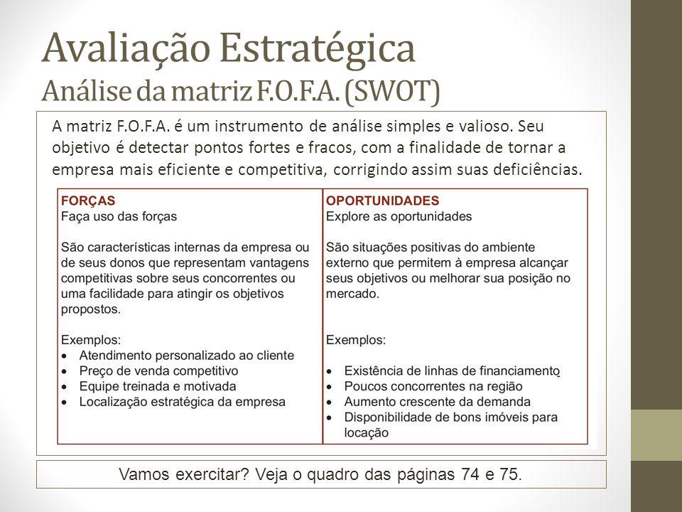 Avaliação Estratégica Análise da matriz F.O.F.A. (SWOT) A matriz F.O.F.A. é um instrumento de análise simples e valioso. Seu objetivo é detectar ponto