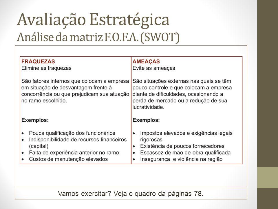 Avaliação Estratégica Análise da matriz F.O.F.A. (SWOT) Vamos exercitar? Veja o quadro da páginas 78.