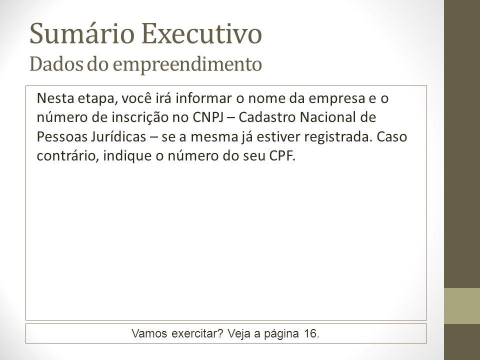 Sumário Executivo Dados do empreendimento Nesta etapa, você irá informar o nome da empresa e o número de inscrição no CNPJ – Cadastro Nacional de Pessoas Jurídicas – se a mesma já estiver registrada.