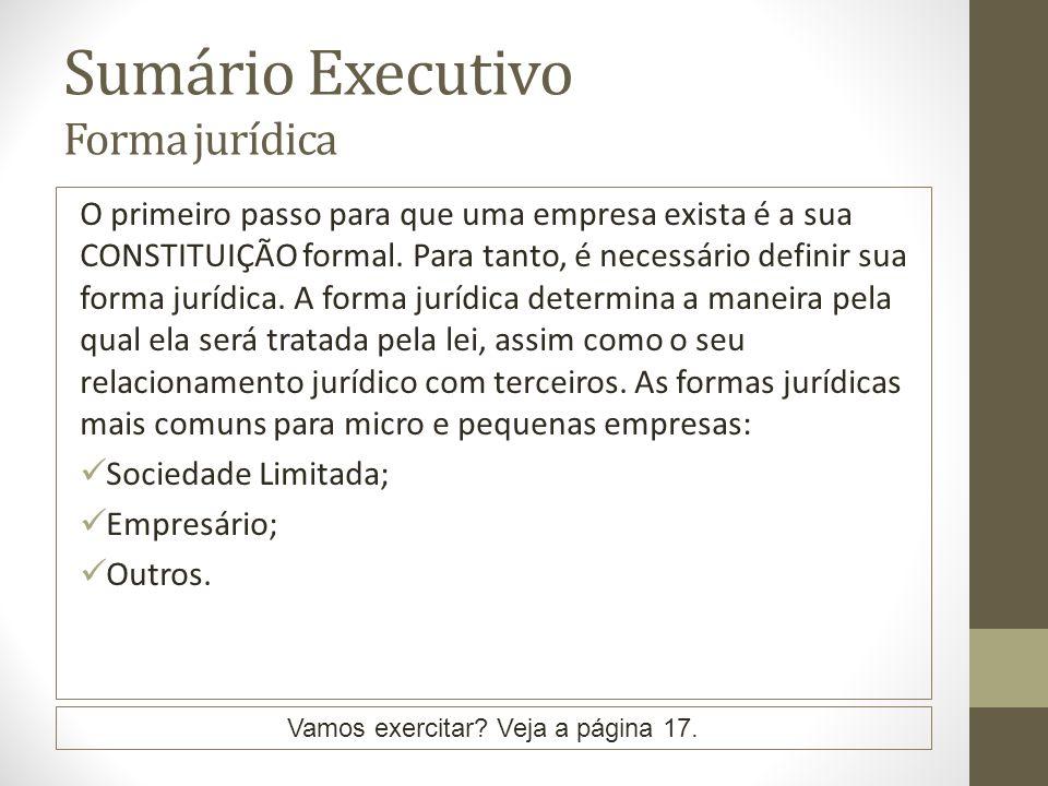 Sumário Executivo Forma jurídica O primeiro passo para que uma empresa exista é a sua CONSTITUIÇÃO formal. Para tanto, é necessário definir sua forma
