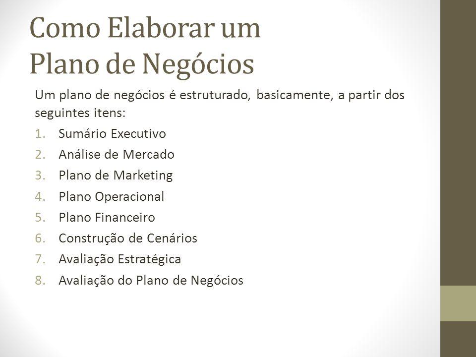 Como Elaborar um Plano de Negócios Um plano de negócios é estruturado, basicamente, a partir dos seguintes itens: 1.Sumário Executivo 2.Análise de Mer