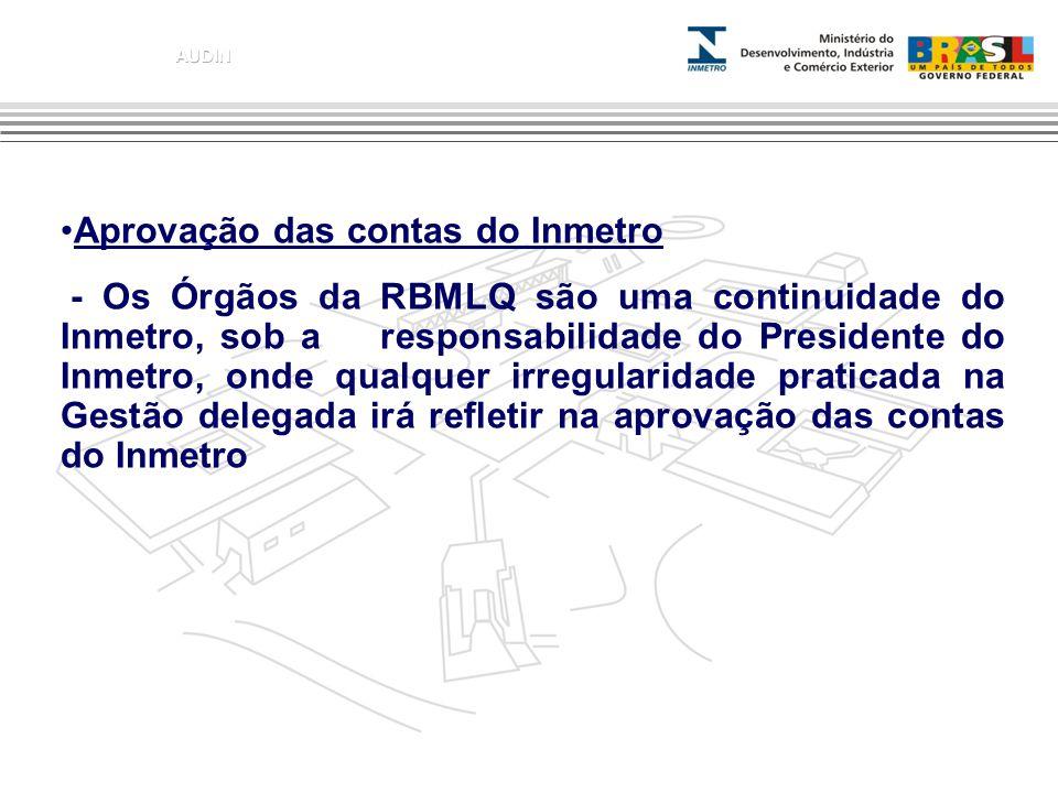 Aprovação das contas do Inmetro - Os Órgãos da RBMLQ são uma continuidade do Inmetro, sob a responsabilidade do Presidente do Inmetro, onde qualquer i