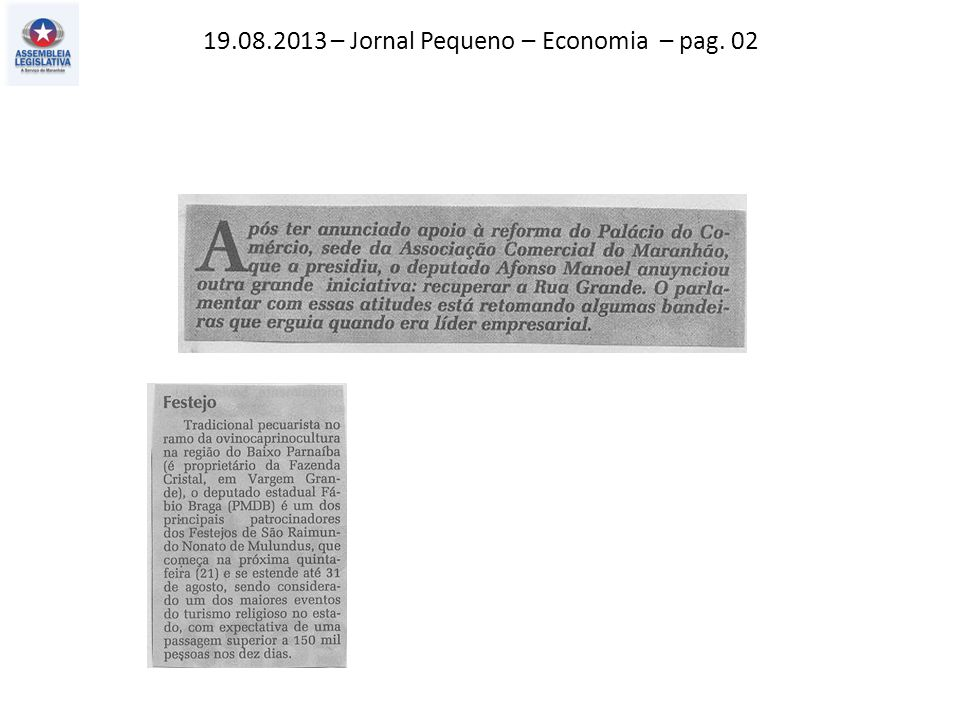 19.08.2013 – Jornal Pequeno – Economia – pag. 02