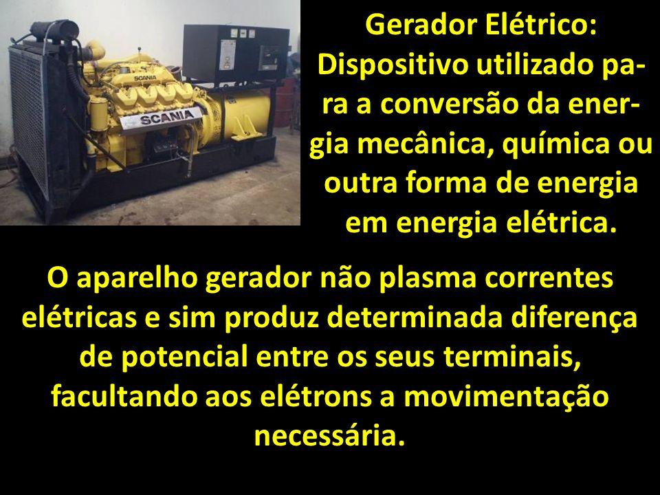 Gerador Elétrico: Dispositivo utilizado pa- ra a conversão da ener- gia mecânica, química ou outra forma de energia em energia elétrica.
