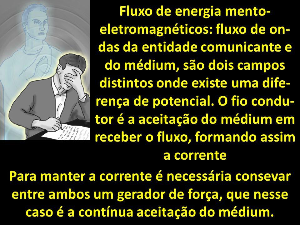 Fluxo de energia mento- eletromagnéticos: fluxo de on- das da entidade comunicante e do médium, são dois campos distintos onde existe uma dife- rença de potencial.