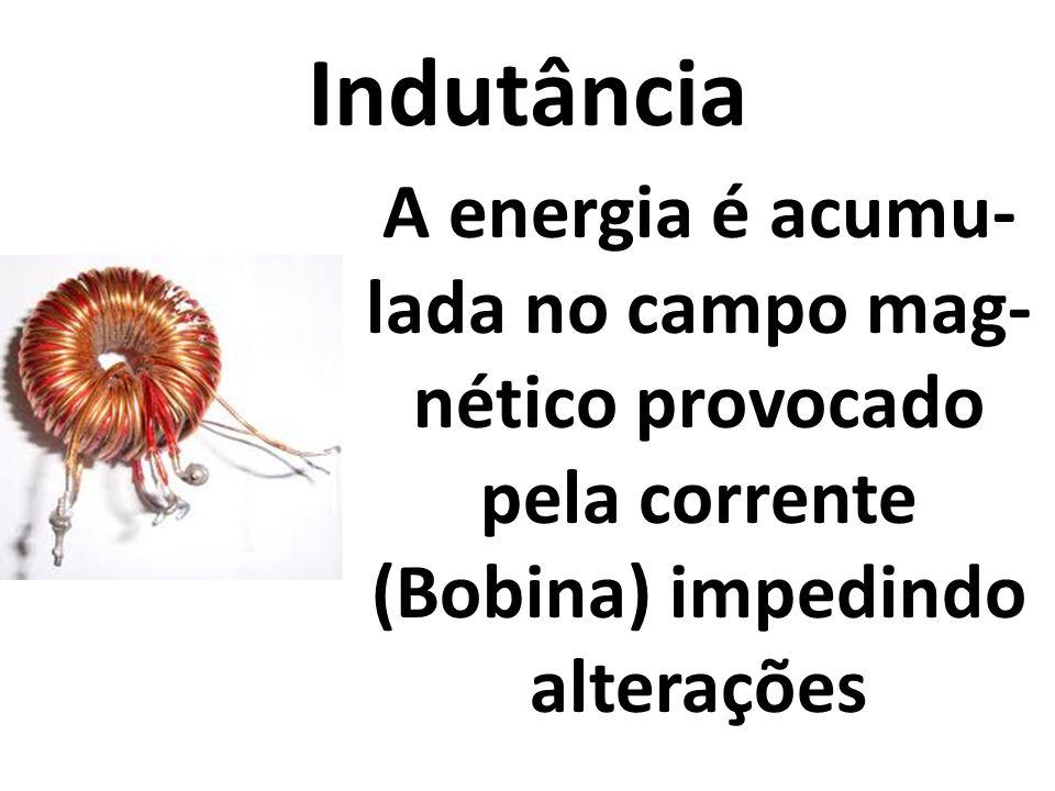 Indutância A energia é acumu- lada no campo mag- nético provocado pela corrente (Bobina) impedindo alterações