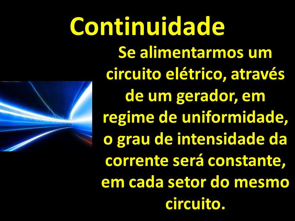 Continuidade Se alimentarmos um circuito elétrico, através de um gerador, em regime de uniformidade, o grau de intensidade da corrente será constante, em cada setor do mesmo circuito.