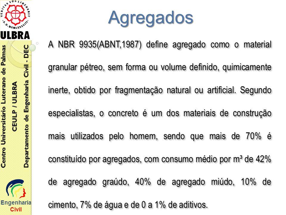 Engenharia Civil Centro Universitário Luterano de Palmas CEULP / ULBRA Departamento de Engenharia Civil - DEC Agregados A NBR 9935(ABNT,1987) define a