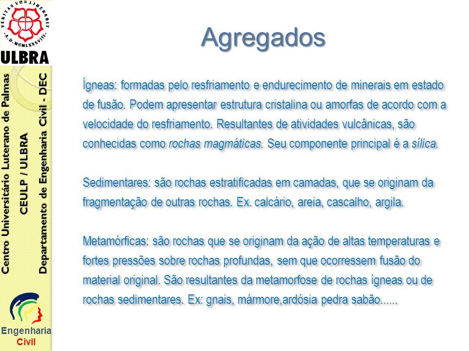 Engenharia Civil Centro Universitário Luterano de Palmas CEULP / ULBRA Departamento de Engenharia Civil - DEC Ígneas: formadas pelo resfriamento e end