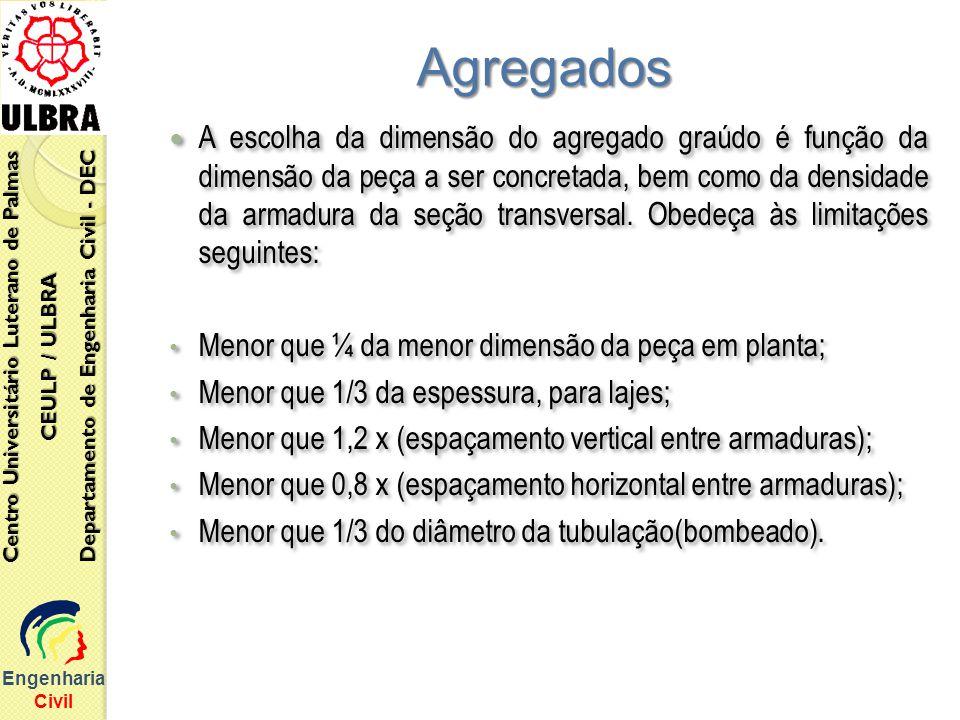 A escolha da dimensão do agregado graúdo é função da dimensão da peça a ser concretada, bem como da densidade da armadura da seção transversal. Obedeç