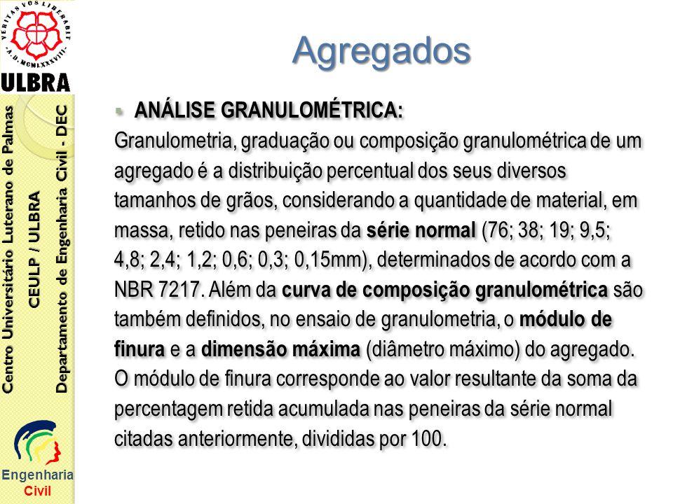 Engenharia Civil Centro Universitário Luterano de Palmas CEULP / ULBRA Departamento de Engenharia Civil - DEC ANÁLISE GRANULOMÉTRICA: Granulometria, g