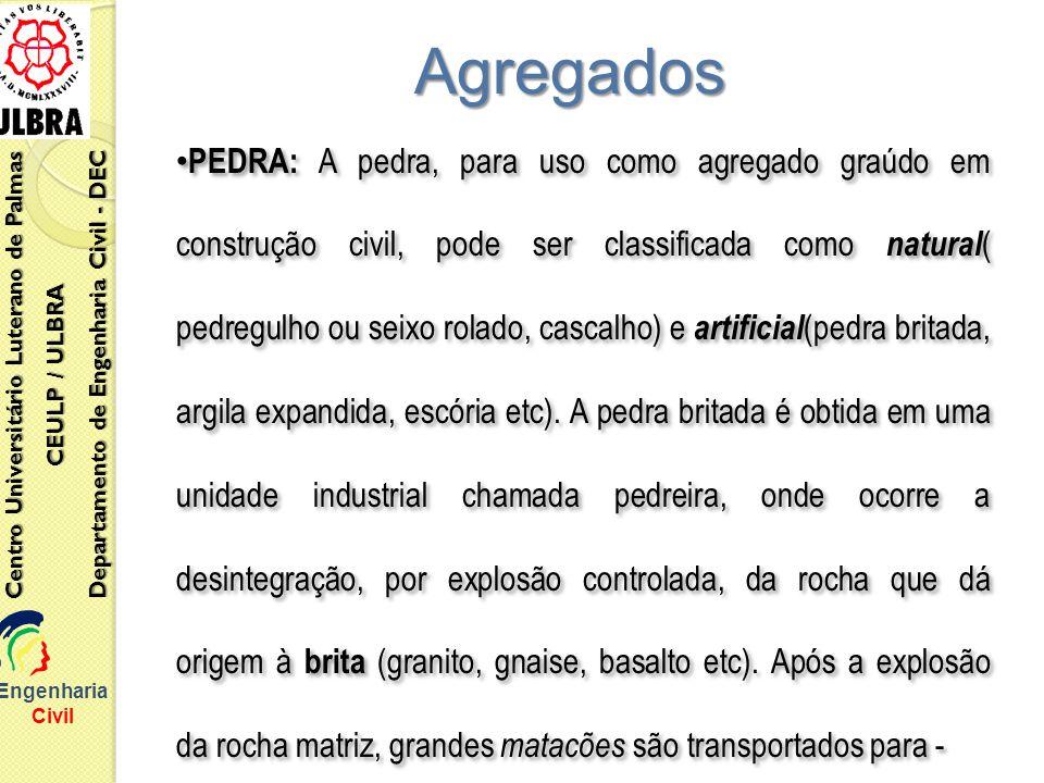 Engenharia Civil Centro Universitário Luterano de Palmas CEULP / ULBRA Departamento de Engenharia Civil - DEC Agregados PEDRA: A pedra, para uso como