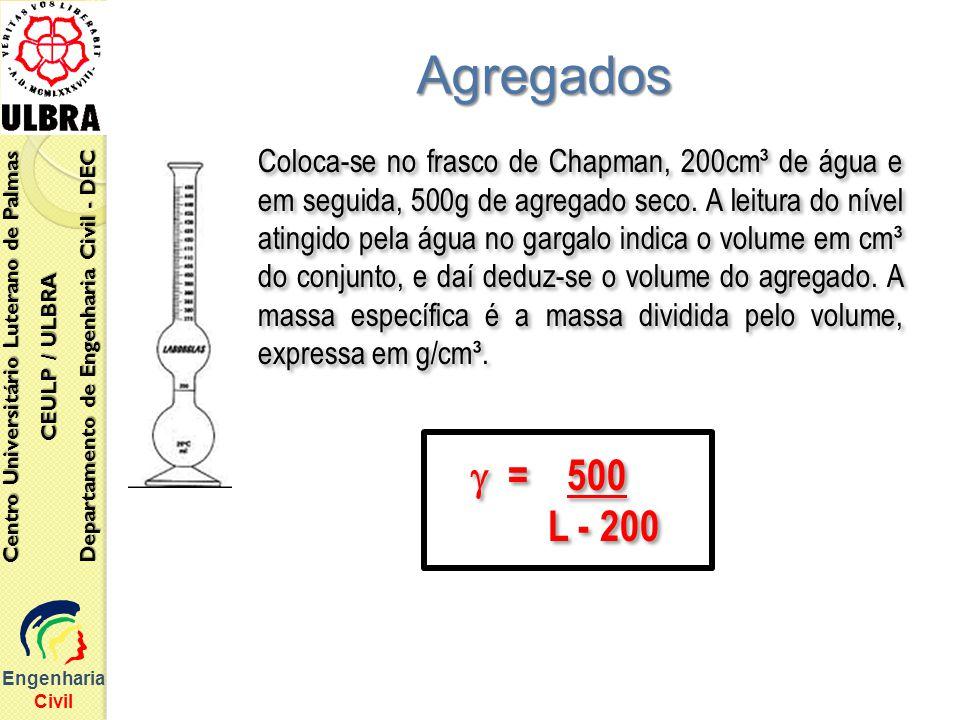 Engenharia Civil Centro Universitário Luterano de Palmas CEULP / ULBRA Departamento de Engenharia Civil - DEC Agregados Coloca-se no frasco de Chapman