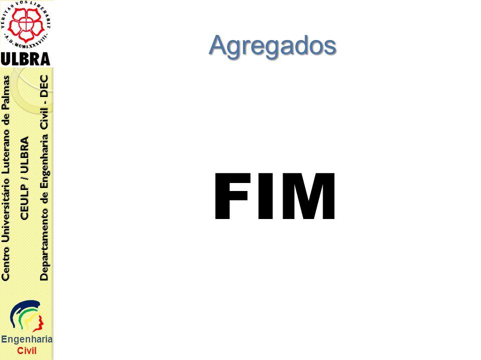 FIM Engenharia Civil Centro Universitário Luterano de Palmas CEULP / ULBRA Departamento de Engenharia Civil - DEC Agregados