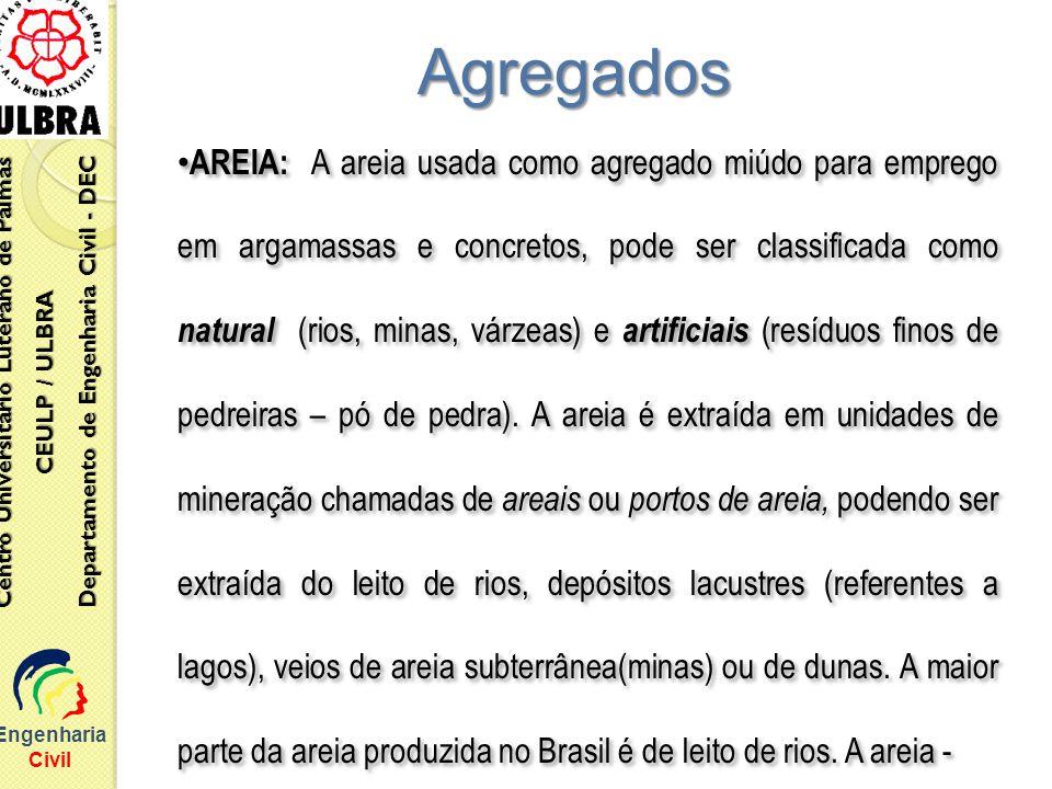 Engenharia Civil Centro Universitário Luterano de Palmas CEULP / ULBRA Departamento de Engenharia Civil - DEC Agregados AREIA: A areia usada como agre