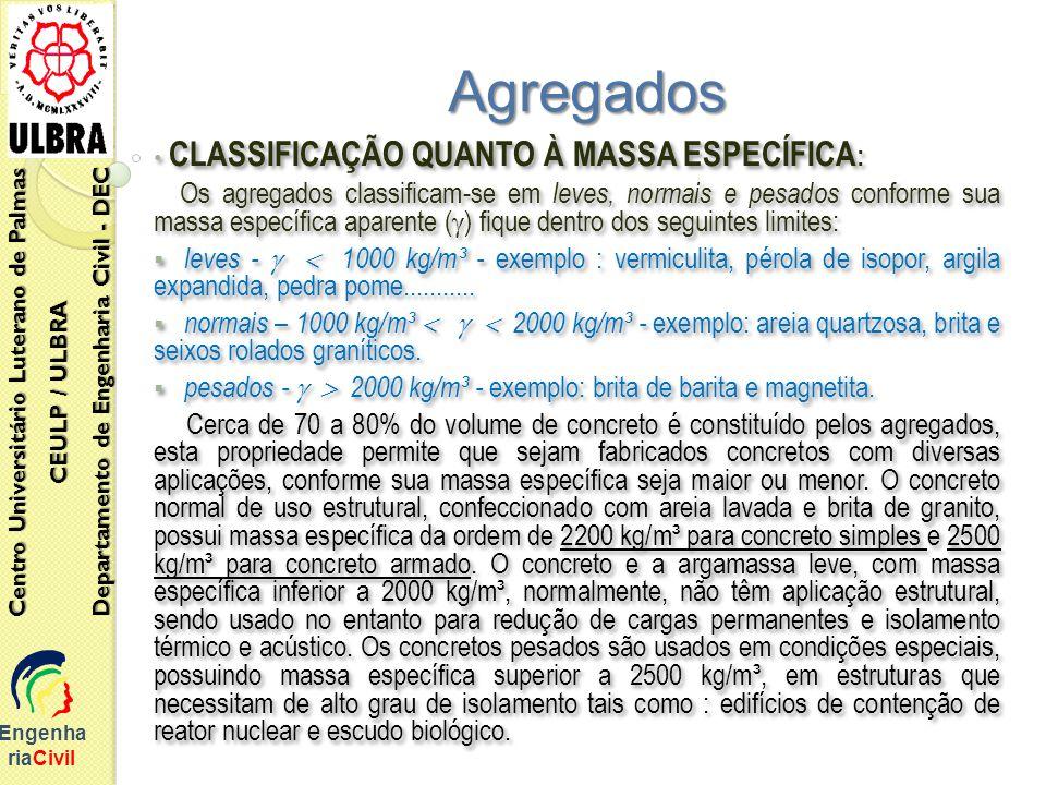 Engenha riaCivil Centro Universitário Luterano de Palmas CEULP / ULBRA Departamento de Engenharia Civil - DEC Agregados CLASSIFICAÇÃO QUANTO À MASSA E