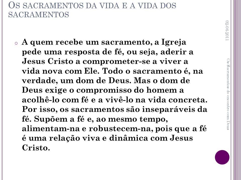 o A quem recebe um sacramento, a Igreja pede uma resposta de fé, ou seja, aderir a Jesus Cristo a comprometer-se a viver a vida nova com Ele. Todo o s