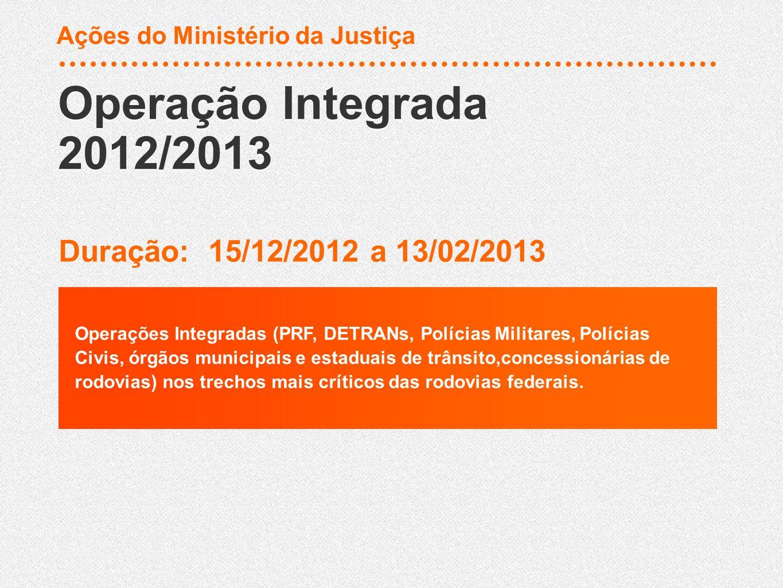 Operação Integrada 2012/2013 Duração: 15/12/2012 a 13/02/2013 Operações Integradas (PRF, DETRANs, Polícias Militares, Polícias Civis, órgãos municipais e estaduais de trânsito,concessionárias de rodovias) nos trechos mais críticos das rodovias federais.