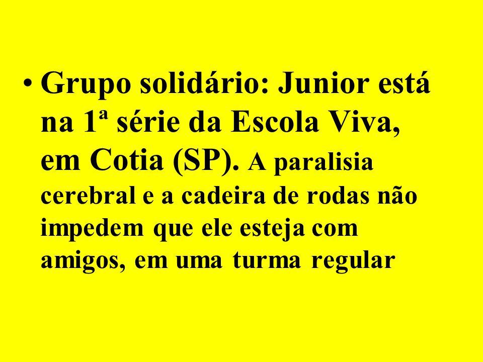 Grupo solidário: Junior está na 1ª série da Escola Viva, em Cotia (SP). A paralisia cerebral e a cadeira de rodas não impedem que ele esteja com amigo
