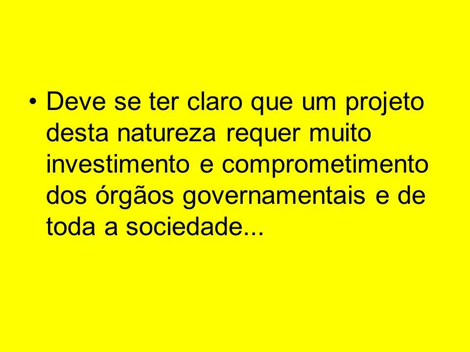 Deve se ter claro que um projeto desta natureza requer muito investimento e comprometimento dos órgãos governamentais e de toda a sociedade...