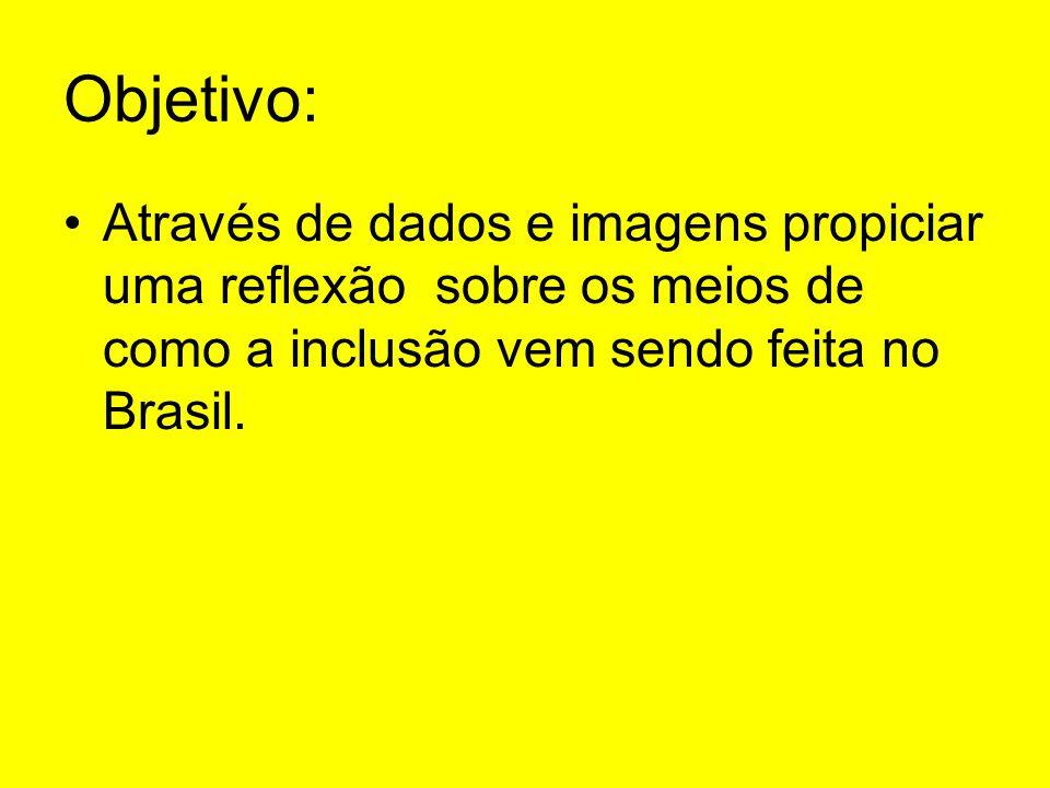 Objetivo: Através de dados e imagens propiciar uma reflexão sobre os meios de como a inclusão vem sendo feita no Brasil.