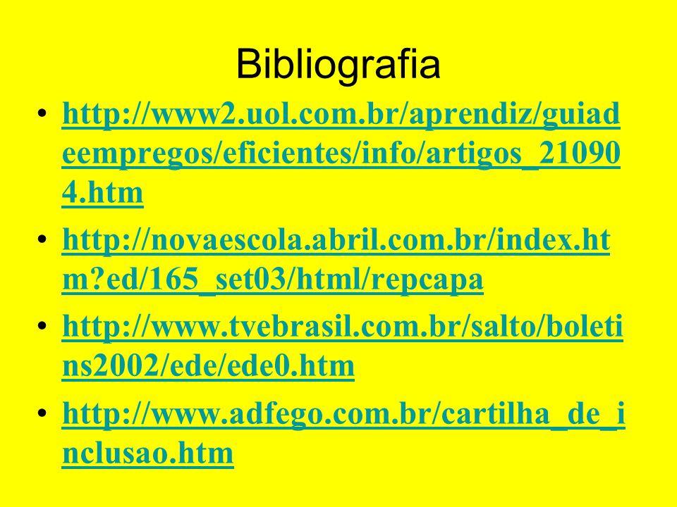 Bibliografia http://www2.uol.com.br/aprendiz/guiad eempregos/eficientes/info/artigos_21090 4.htmhttp://www2.uol.com.br/aprendiz/guiad eempregos/eficie