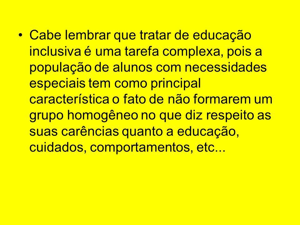 Cabe lembrar que tratar de educação inclusiva é uma tarefa complexa, pois a população de alunos com necessidades especiais tem como principal caracter
