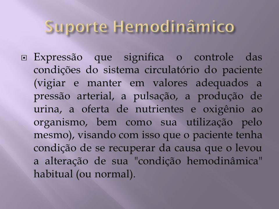 Expressão que significa o controle das condições do sistema circulatório do paciente (vigiar e manter em valores adequados a pressão arterial, a pulsa