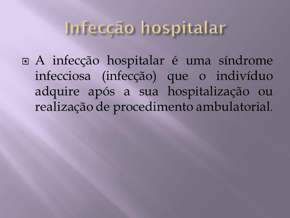 A infecção hospitalar é uma síndrome infecciosa (infecção) que o indivíduo adquire após a sua hospitalização ou realização de procedimento ambulatoria