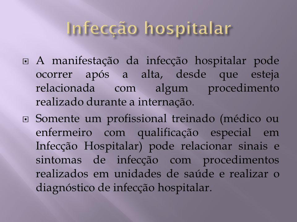 A manifestação da infecção hospitalar pode ocorrer após a alta, desde que esteja relacionada com algum procedimento realizado durante a internação. So